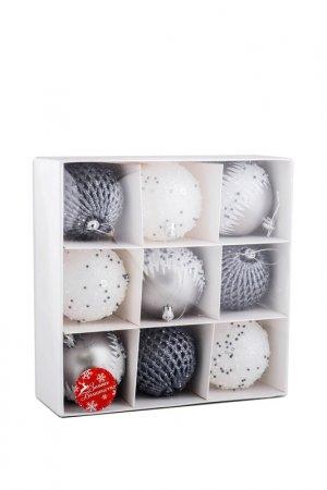 Набор елочных шаров Зимнее волшебство. Цвет: белый, серый