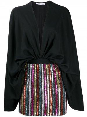 Короткое платье с пайетками Amen. Цвет: черный