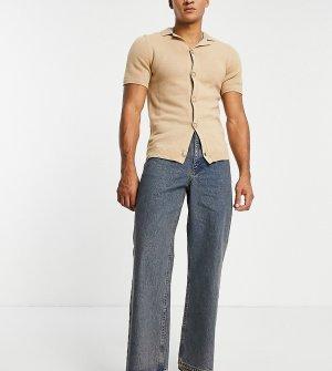 Выбеленные голубые расклешенные джинсы из плотного денима COLLUSION x008-Голубой