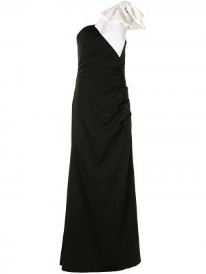 Платье макси на одно плечо Jovani. Цвет: черный