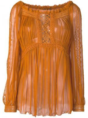 Плиссированная полупрозрачная блузка Alberta Ferretti. Цвет: коричневый