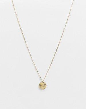 Позолоченное ожерелье с гравировкой созвездия Водолея на подвеске Z for -Золотистый Accessorize