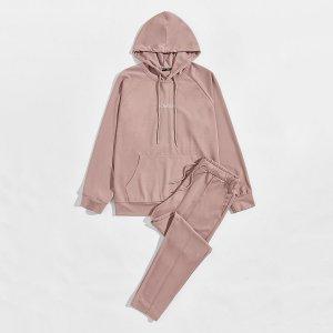 Мужская толстовка с текстовой вышивкой и спортивные брюки SHEIN. Цвет: пыльный розовый