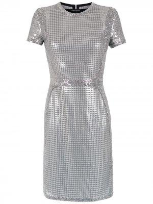 Платье с вышивкой пайетками Gloria Coelho. Цвет: серебристый