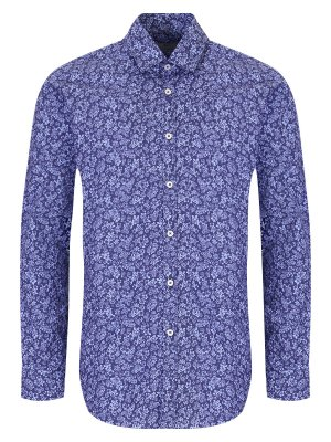 Рубашка Slim Fit с принтом CANALI. Цвет: синий
