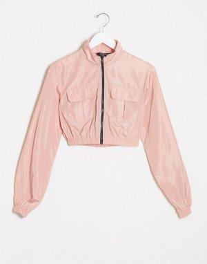 Розовая олимпийка в стиле милитари -Розовый NaaNaa
