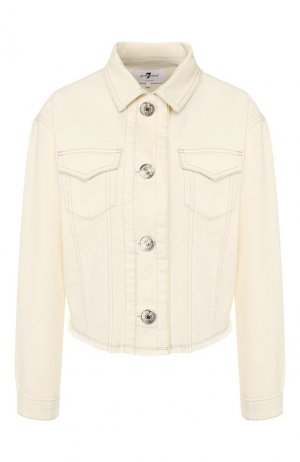 Джинсовая куртка 7 For All Mankind. Цвет: белый