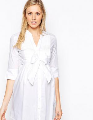 Завязывающаяся спереди рубашка-туника Isabella Oliver. Цвет: белый