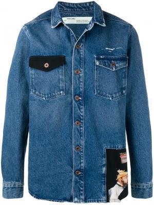 Куртка с нашивкой Off-White. Цвет: синий