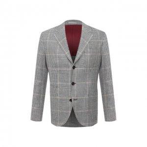 Пиджак изо льна и шерсти Brunello Cucinelli. Цвет: серый