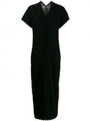 Длинное пляжное платье с бахромой Caravana. Цвет: черный
