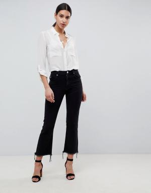Черные укороченные расклешенные джинсы с необработанными краями Egerton-Черный ASOS DESIGN