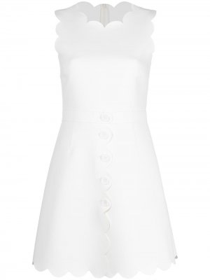 Платье-трапеция с фестонами RED Valentino. Цвет: белый