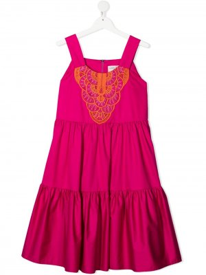 Сарафан с вышивкой Alberta Ferretti Kids. Цвет: розовый