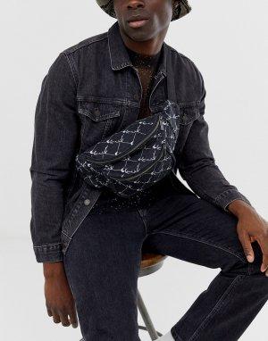 Черная сумка-кошелек на пояс со сплошным принтом логотипа -Черный Karl Kani