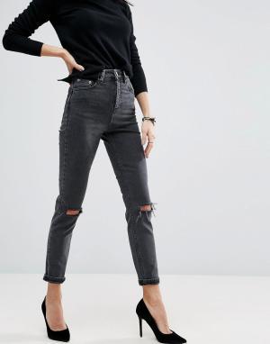 c4856b244a0 Черные выбеленные джинсы слим в винтажном стиле с завышенной талией и рваными  коленями ASOS Farleigh DESIGN