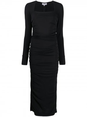 Платье с квадратным вырезом и длинными рукавами GANNI. Цвет: черный