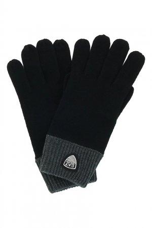 Черные перчатки с серыми манжетами EA7. Цвет: черный
