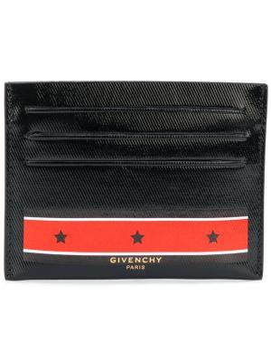 Stars and stripes printed cardholder Givenchy. Цвет: чёрный