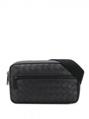Поясная сумка с плетением Intrecciato Bottega Veneta. Цвет: черный