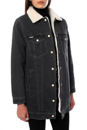 Джинсовая куртка на овчине Dasti. Цвет: черный