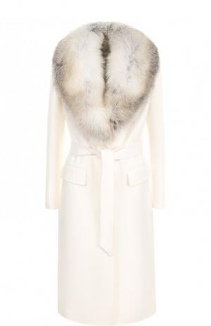 Шерстяное пальто с поясом и меховым воротником Roberto Cavalli. Цвет: белый
