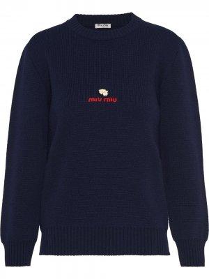 Джемпер с вышитым логотипом Miu. Цвет: синий