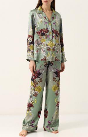 Шелковая пижама с контрастным принтом Meng. Цвет: разноцветный