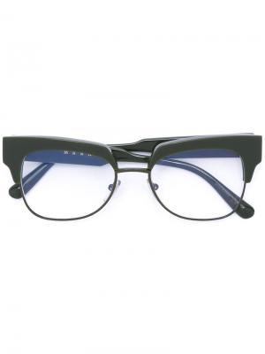 Очки в квадратной оправе Marni Eyewear. Цвет: зелёный