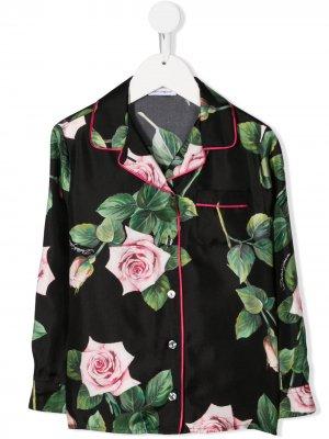 Пижамный топ с принтом Dolce & Gabbana Kids. Цвет: черный