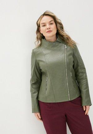 Куртка кожаная Le Monique IPGENIVALS21/2. Цвет: хаки