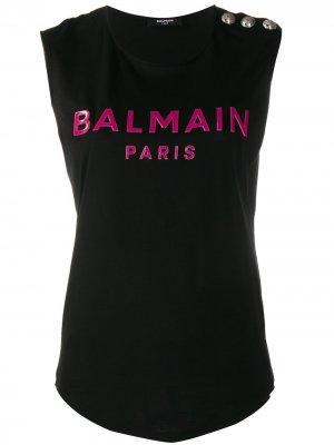 Топ без рукавов с логотипом Balmain. Цвет: черный