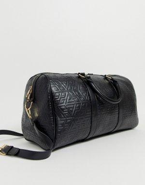 Большая сумка-боулер с тисненым узором в виде монограммы -Черный ASOS DESIGN
