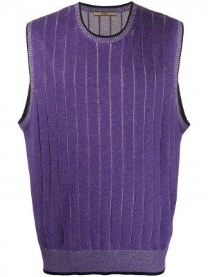Полосатый жилет 2000-х годов Emanuel Ungaro Pre-Owned. Цвет: фиолетовый