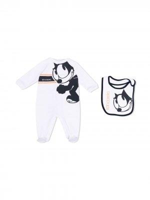 Комплект из пижамы и нагрудника с принтом Iceberg Kids. Цвет: белый