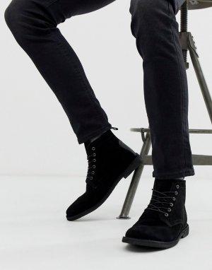 Черные замшевые дезерты с кожаной вставкой -Черный цвет ASOS DESIGN