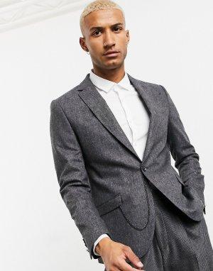 Серый узкий пиджак с карманной цепочкой Shelby & Sons