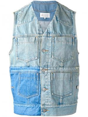 Лоскутная джинсовая жилетка Maison Margiela. Цвет: синий