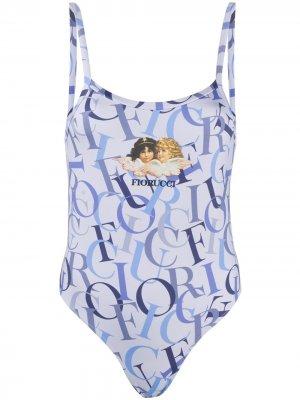 Logo-print vest bodysuit Fiorucci. Цвет: синий