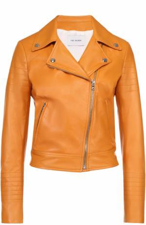 Укороченная кожаная куртка с косой молнией Yves Salomon. Цвет: оранжевый