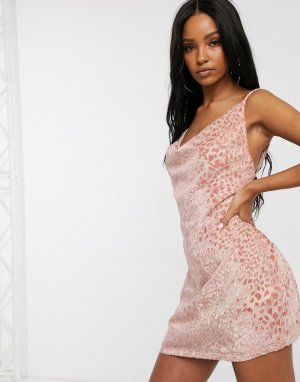Платье мини с леопардовым принтом персикового цвета и драпированным вырезом -Розовый Saint Genies