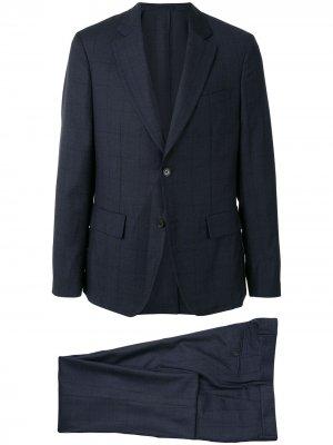 Клетчатый костюм с однобортным пиджаком Salvatore Ferragamo. Цвет: синий
