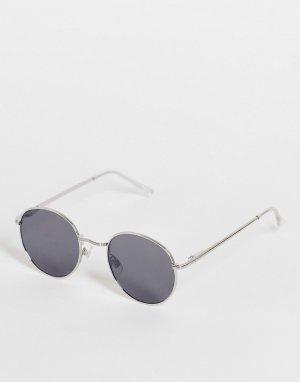 Круглые солнцезащитные очки в стиле унисекс серебристой оправе с зеркальными стеклами -Серебряный AJ Morgan