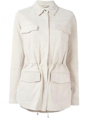 Кожаная куртка с карманами клапанами Vince. Цвет: телесный