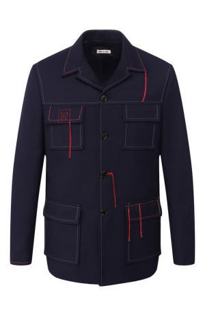 Однобортный пиджак с контрастной отделкой Marni. Цвет: темно-синий