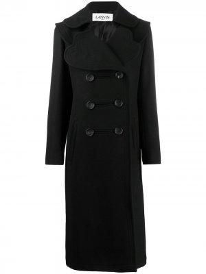 Двубортное пальто с фестонами LANVIN. Цвет: черный