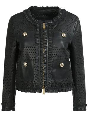Кожаная куртка с декором DSQUARED2. Цвет: черный
