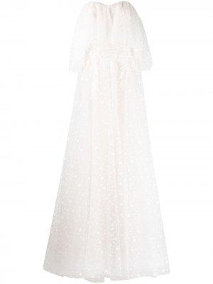 Свадебное платье Sabriel с открытыми плечами Tadashi Shoji. Цвет: белый