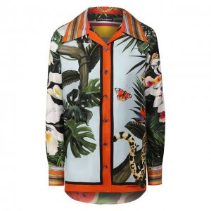 Шелковая рубашка Dolce & Gabbana. Цвет: синий