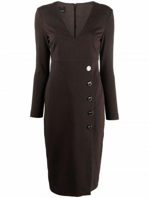 Платье-футляр миди с V-образным вырезом Pinko. Цвет: коричневый